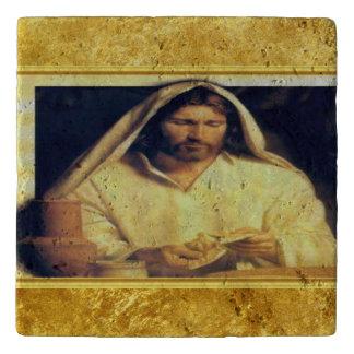 Jesus breaking bread matthew 14-13 Gold texture Trivet