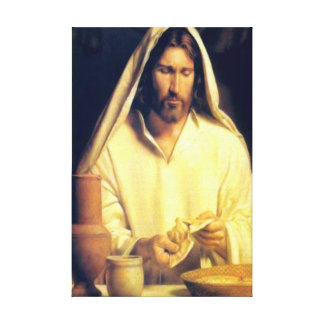Jesus Breaking Bread Wrapped Canvas Gallery Wrapped Canvas