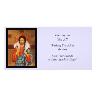 Jesus Carries a Lost Lamb Icon Customized Photo Card