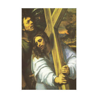 Jesus carries cross Wrapped Canvas Canvas Prints