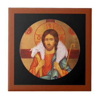 Jesus Carrying Lost Lamb on Shoulders Small Square Tile