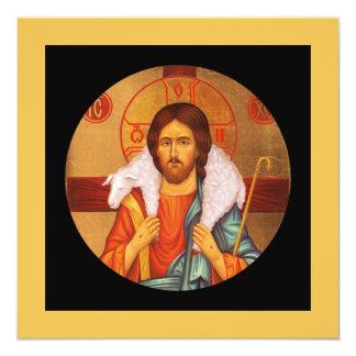 Jesus Carrying Lost Sheep Icon 13 Cm X 13 Cm Square Invitation Card