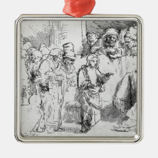 Jesus Christ among the Doctors Silver-Colored Square Decoration