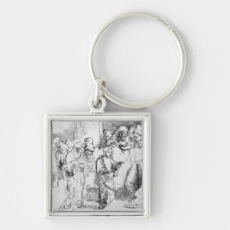 Jesus Christ among the Doctors Silver-Colored Square Key Ring