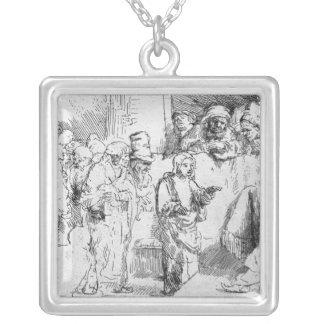 Jesus Christ among the Doctors Square Pendant Necklace