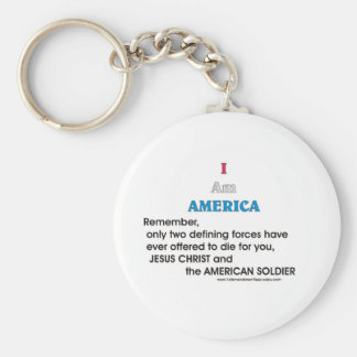 Jesus Christ and the American Soldier Basic Round Button Key Ring