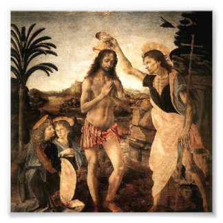 Jesus christ being baptised by John, painting by L Photographic Print