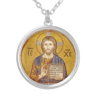 Jesus Christ Byzantine painting Round Pendant Necklace