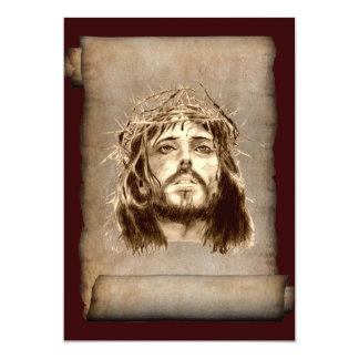 Jesus Christ Crown of Thorns on Scroll 13 Cm X 18 Cm Invitation Card