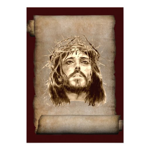 Jesus Christ Crown of Thorns on Scroll Announcements