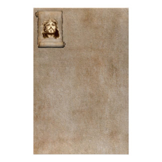 Jesus Christ Crown of Thorns on Scroll Personalized Stationery