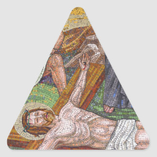 Jesus Christ crucifixion mosaic tiles Triangle Sticker