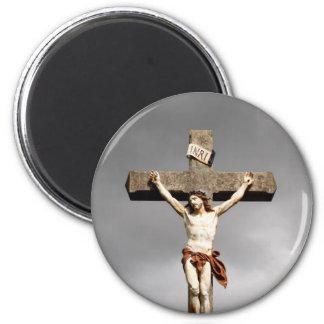 Jesus Christ crucifixion sculpture 6 Cm Round Magnet
