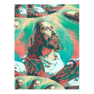 Jesus Christ Fractal Dove Peace Posterized Postcard