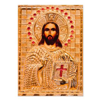 Jesus christ golden icon 13 cm x 18 cm invitation card