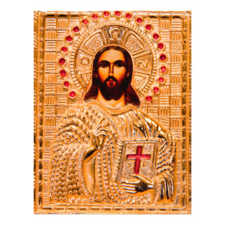 Jesus christ golden icon custom flyer