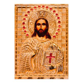 Jesus christ golden icon invite