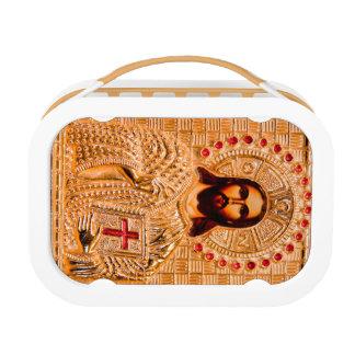 Jesus christ golden icon lunch box