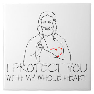 Jesus Christ - I Protect You Large Square Tile