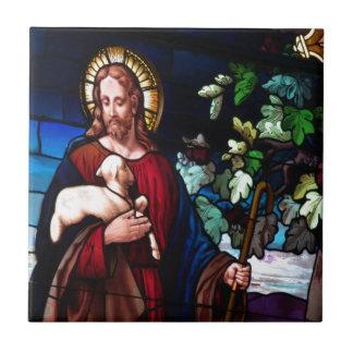 Jesus Christ Lamb Design Glass Art Destiny Small Square Tile
