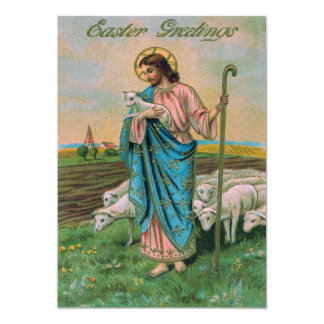 Jesus Christ Lamb Shepherd 13 Cm X 18 Cm Invitation Card