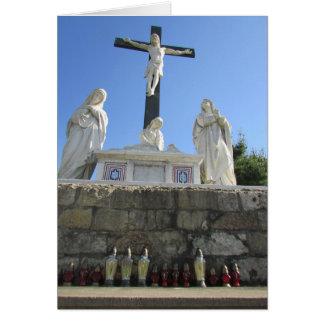 Jesus Christ on Cross Shrine Statue Blank Card
