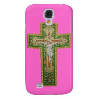 Jesus Christ on the Cross. Green Silk Religous Art Galaxy S4 Cases