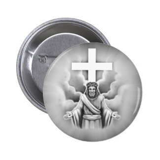 Jesus Christ Resurrection Cross Design Button