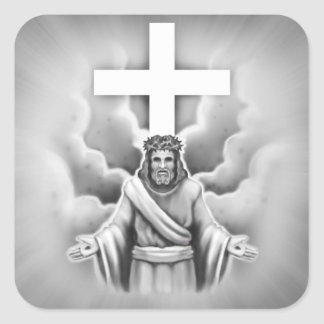 Jesus Christ Resurrection Cross Design Square Sticker