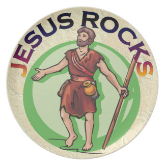 JESUS CHRIST ROCKS PLATE