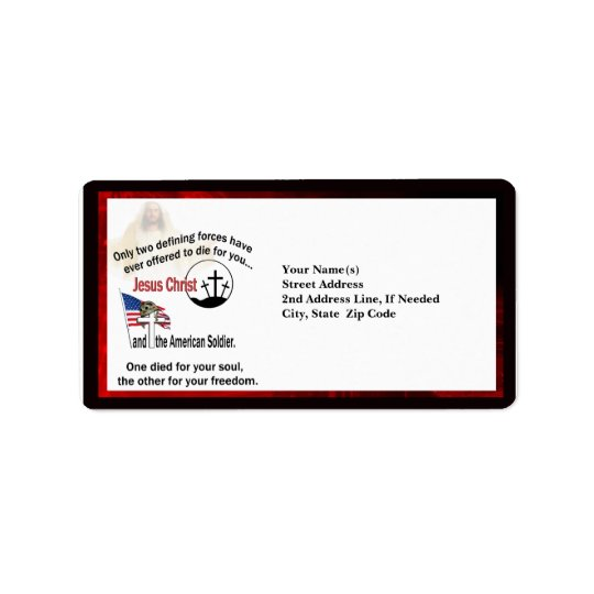 Jesus Christ & the American Soldier Custom Address Address Label