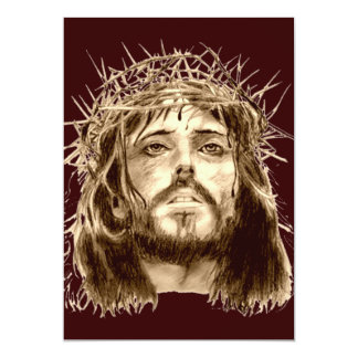 Jesus Christ with a Crown of Thorns 13 Cm X 18 Cm Invitation Card