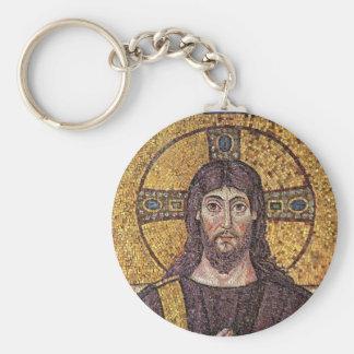 Jesus Christ with Holy Spirit Flame Mosaic Basic Round Button Key Ring
