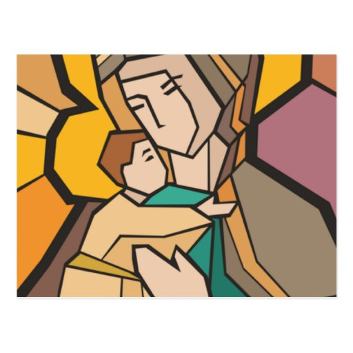 JESUS CHRIST WITH MOTHER MARY POST CARD