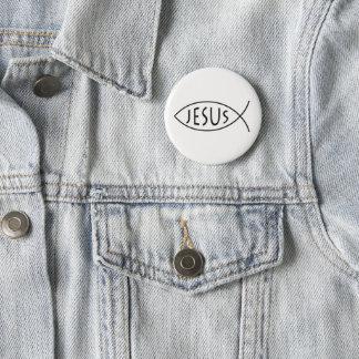 Jesus Christian Fish Symbol 6 Cm Round Badge