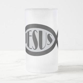 JESUS Christian Fish Symbol Frosted Glass Mug