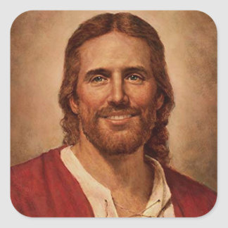 Jesus Christ's Loving Smile Square Sticker