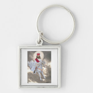 Jesus Christ's Second Coming Silver-Colored Square Key Ring