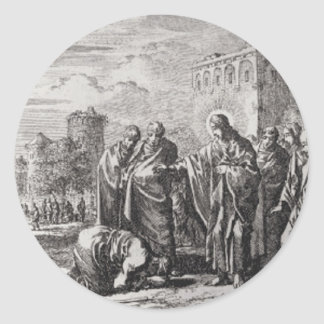 Jesus Confronts 12 Apostles Classic Round Sticker