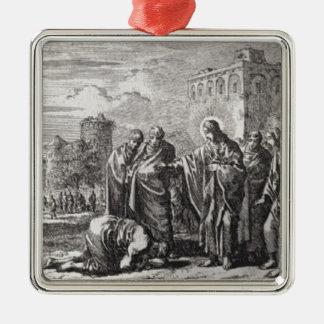 Jesus Confronts 12 Apostles Metal Ornament