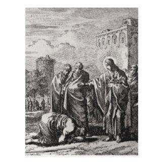 Jesus Confronts 12 Apostles Postcard
