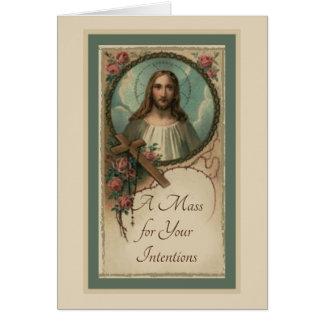 Jesus Cross Rosary Catholic Mass Offering Card