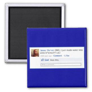 Jesus does Social Media Square Magnet