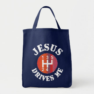 Jesus Drives Me cloth tote bag (dark)
