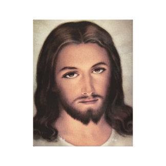 Jesus Face Portrait Stretched Canvas Print