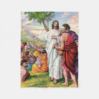 Jesus Feeds the Five Thousand Fleece Blanket