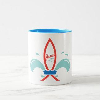 Jesus Fish Fleur de lis Two-Tone Mug