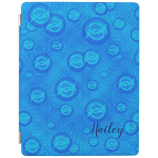 Jesus fish in blue bubbles iPad cover