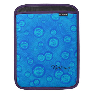 Jesus fish in blue bubbles iPad sleeve