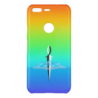 Jesus Fish Sword Cloud and Sea with/Rainbow fade Uncommon Google Pixel Case